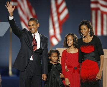 President Barack Obama, with first lady Michelle Obama, Sasha and Malia Ann Obama