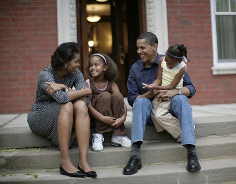 Barack Obama, with wife Michelle and daughters Malia Anna and Natasha