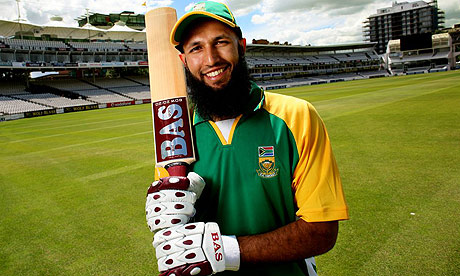 Hashim Amla armed with bat and all