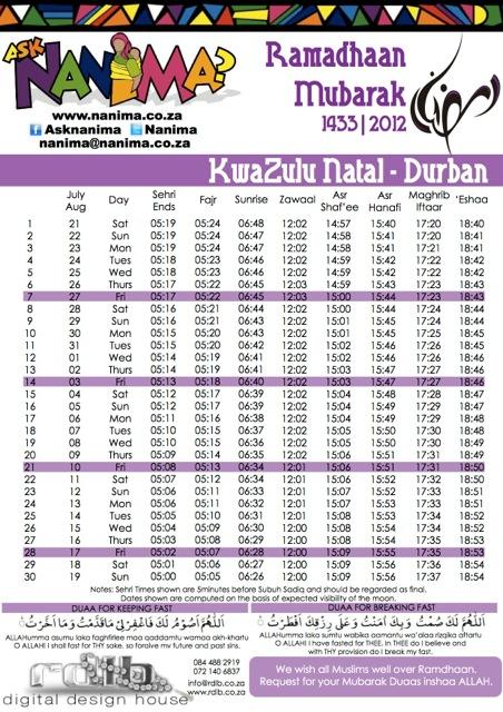 Durban Ramadan 1433 Timetable – 2012