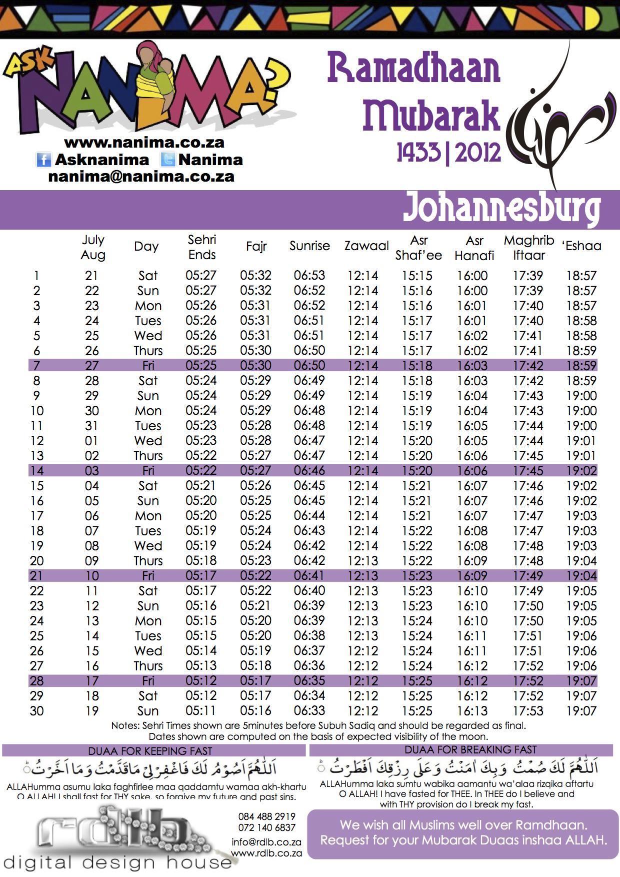 Johannesburg Ramadan 1433 Timetable – 2012