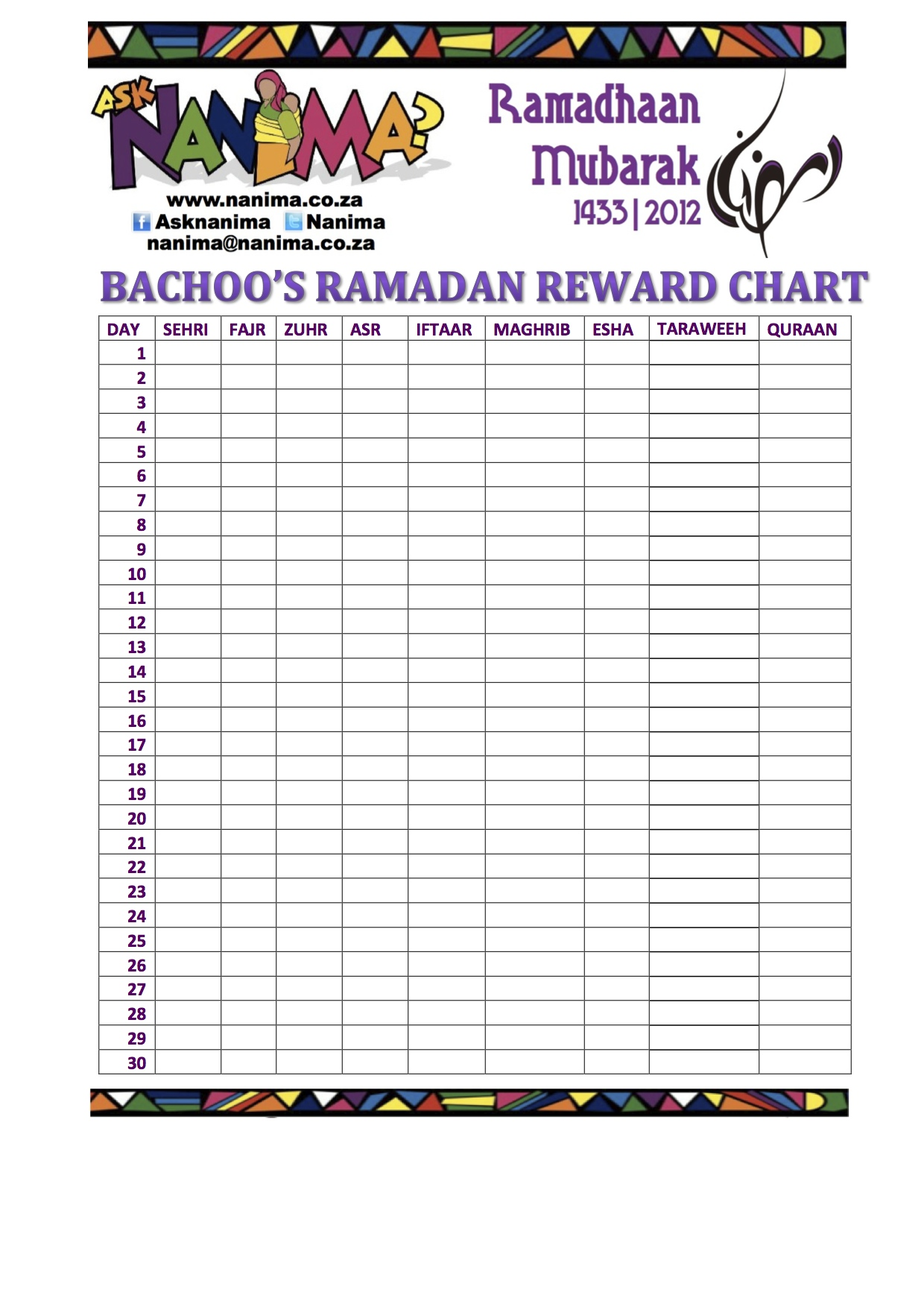 bachoo�s ramadan reward chart ask nanima