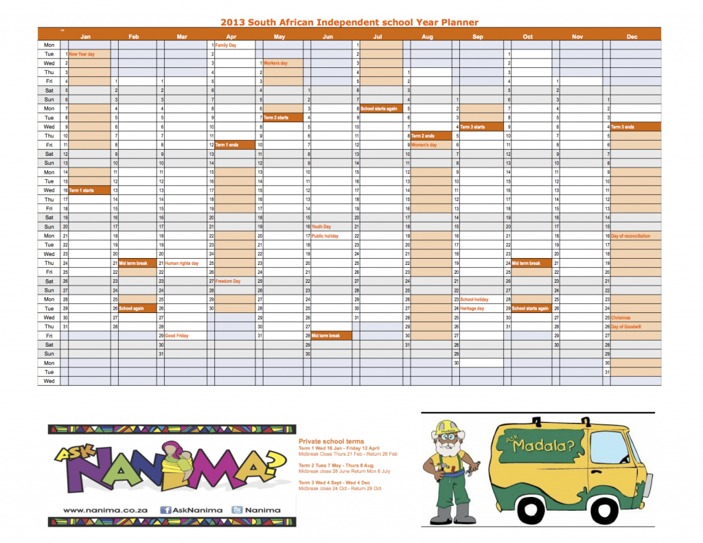 2013 South Africa Public and Independent School Calendar and Year ...