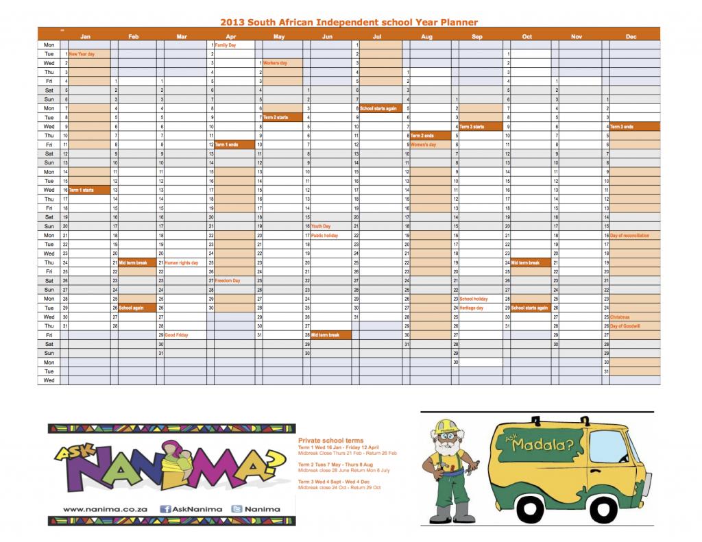 2015 South African Calendar With Public Holidays | Printable Calendar